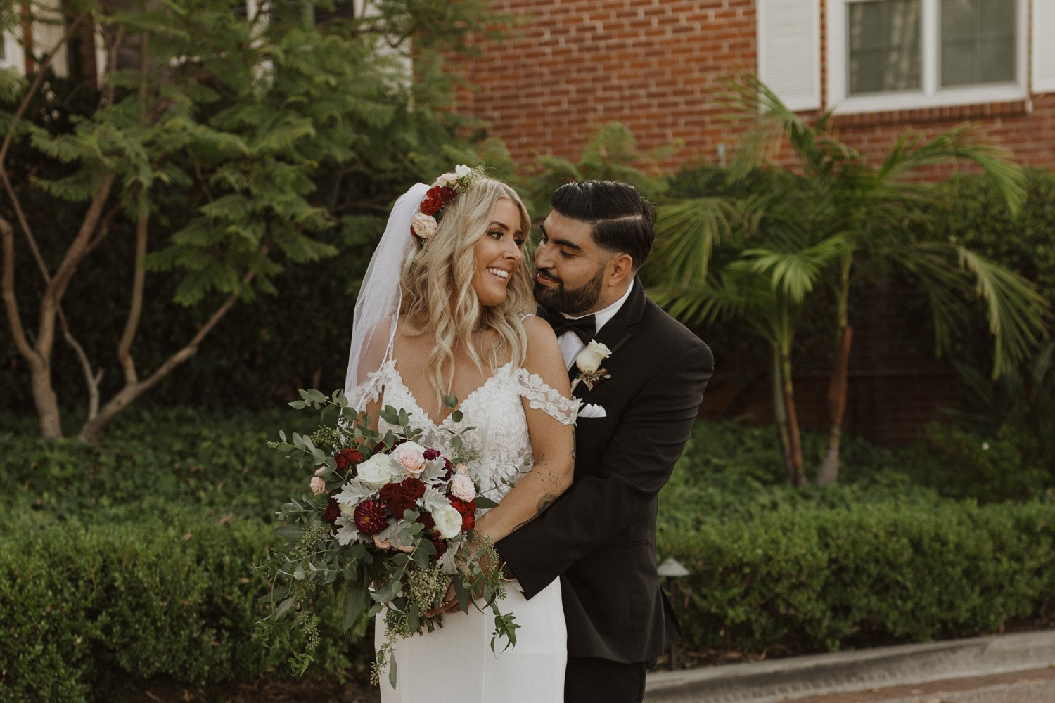 Bride and groom smiling at their Lafayette Hotel Wedding.