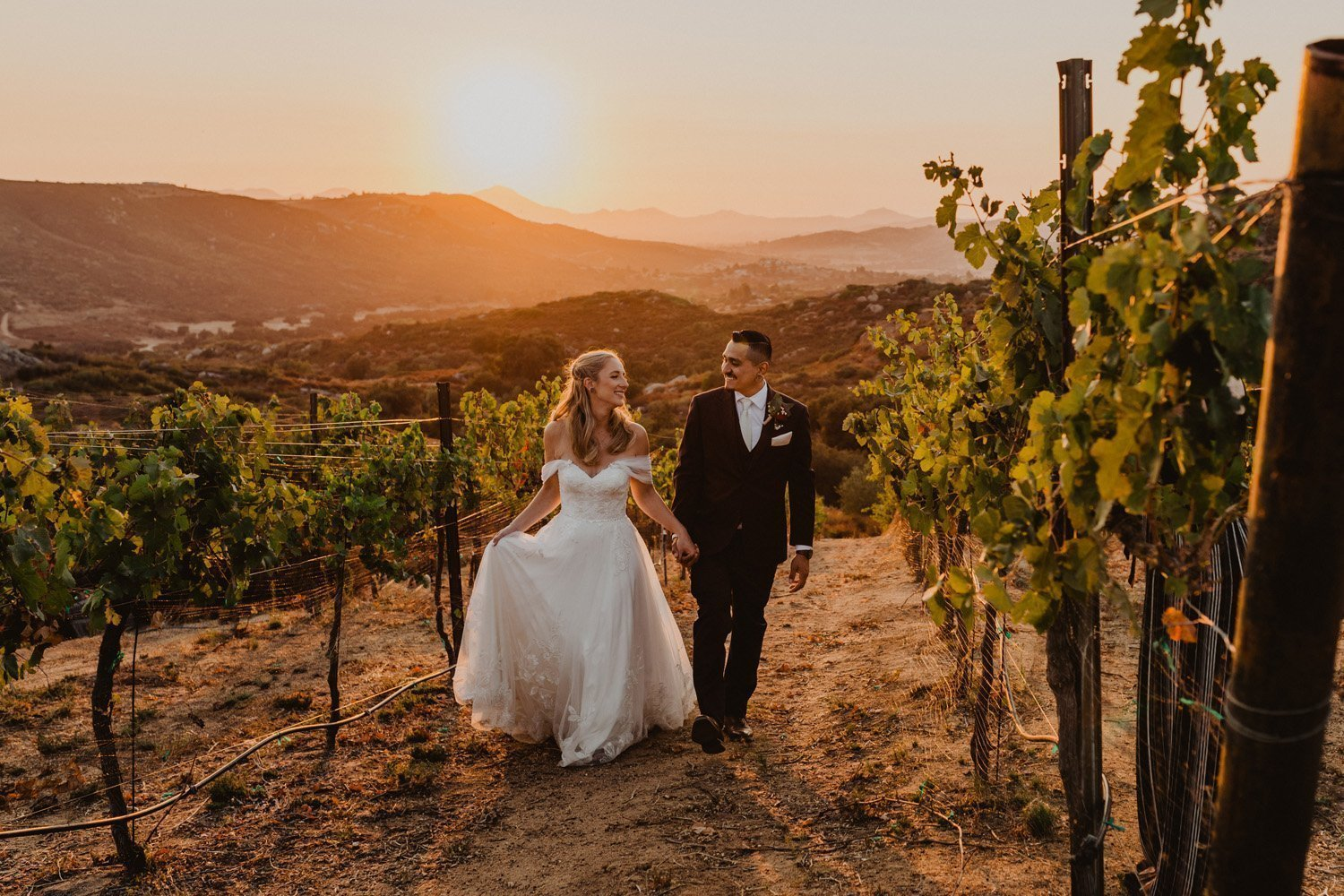 Bride and groom walking in a vineyard at their Milagro Winery Microwedding
